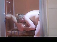 Chubby mature fucked shower cabin