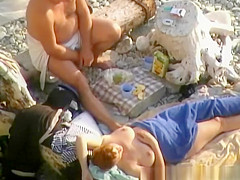 Old nudist man wife blowjob at beach