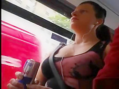 Big boobs cleavage in bus