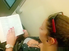 Down blouse in chick reading a book