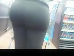 Very big ass milf in black leggings