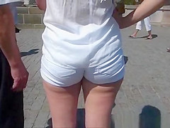 Ass in white shorts