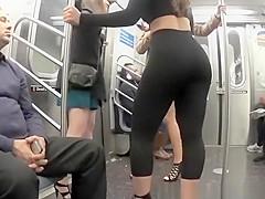 Hot chick wearing black leggings and high heels