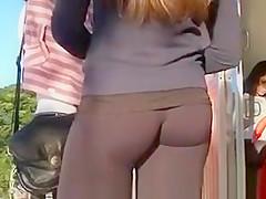 Hot ass in black leggings