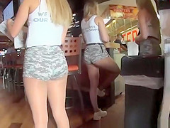 Sexy hooter's girls secretly filmed