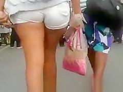 Tight white shorts