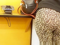 Big ass woman in leopard pattern leggings
