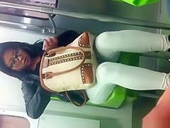 Brunette woman in tight pants