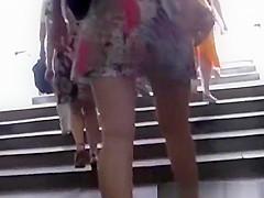 Look under the skirt blonde girl