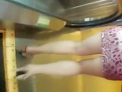 Hot sexy legs blonde upskirt