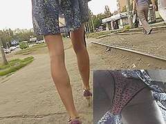 Cute polka dot panty up her suit