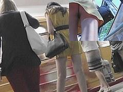 Gripping subway upskirt clip