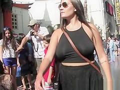Upskirt and no bra dress woman