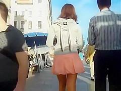 Sexy legs teen upskirted