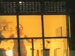 woman peeked through window