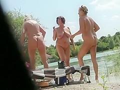 Peeping on mature nudist women