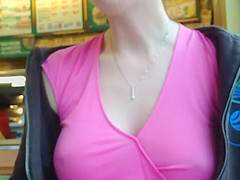 Delicate nipples poking out of a blouse