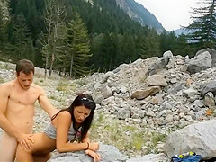 Nervous shy girl fucked in the wilderness