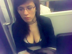 Depressed commuter with big boobs