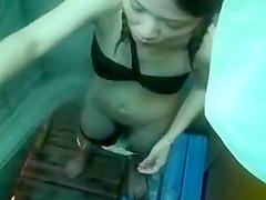 Korean girl peeped under the shower