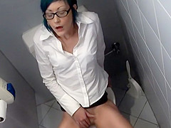 Horny girl caught in office toilet room