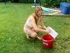 Quirky girl does an ice bucket challenge