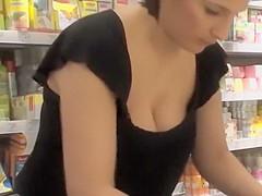Nurturing breasts get spied in a store