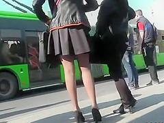 Upskirt of short red skirt