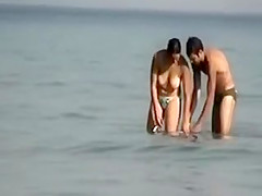 Voyeur Camera at Public Beach Films Busty Girlfriend Cleaning Up
