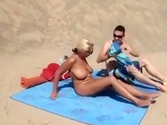 Naked Mature Big Tits Woman Filmed at the Beach