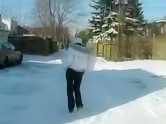 Hot Teen Blowjob Outdoor in Winter