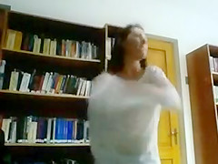 Sexy Girl Goes Wild and Strips Naked in a Public Library