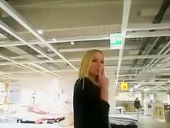 Cute Kinky Blonde Girlfriend Hidden Blowjob in Dressing Room