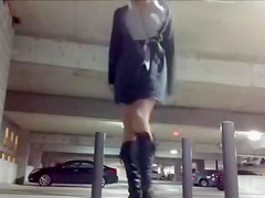 Cute Chick Exposing and Masturbating in Public Parking