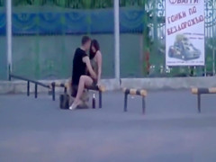 Naughty young couple enjoys copulating in public