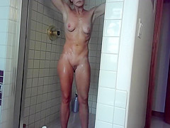 My wife takes a relaxing shower