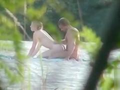 Ukrainian nudists caught fucking in the sand