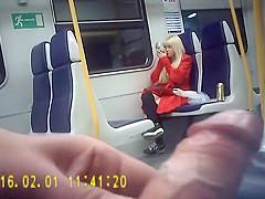 Blonde bimbo laughs as the pervy man strokes his boner