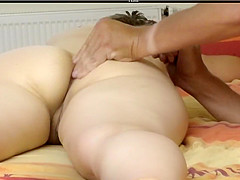 My darling has her big ass powdered and her pussy fingered
