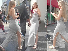 Strong wind plays with a Turkish girl's revealing dress