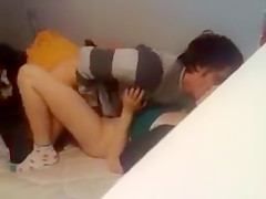 College students get busted by their horny roommate