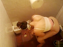 Seductive vixens get taped sitting on the toilet