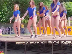 Delightful babes show ass wearing bikini bottoms