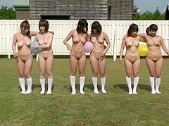 Naked Japanese girls run around the soccer field