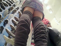 Upskirt fetish video with girl wearing no panties under her miniskirt