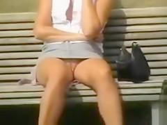 Blonde milf in an outdoor upskirt tease video