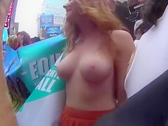 Topless girls celebrate their tits in New York City