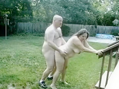Chubby mature couple makes doggystyle video in their backyard