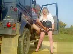 Hot milf publicly sucks and strokes a stranger
