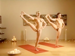 Two naked fit ladies increase their flexibility, muscle definition and mental clarity